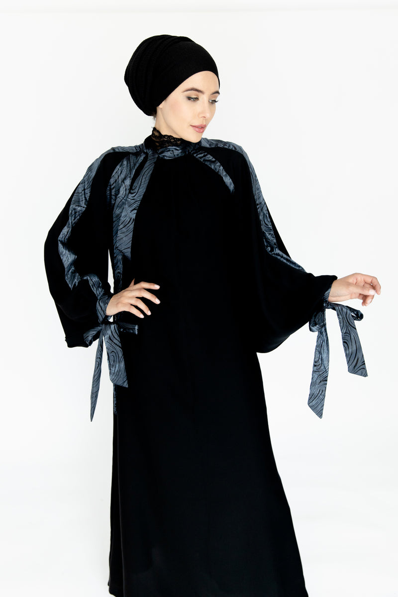 Grey Ribbon Abaya UK