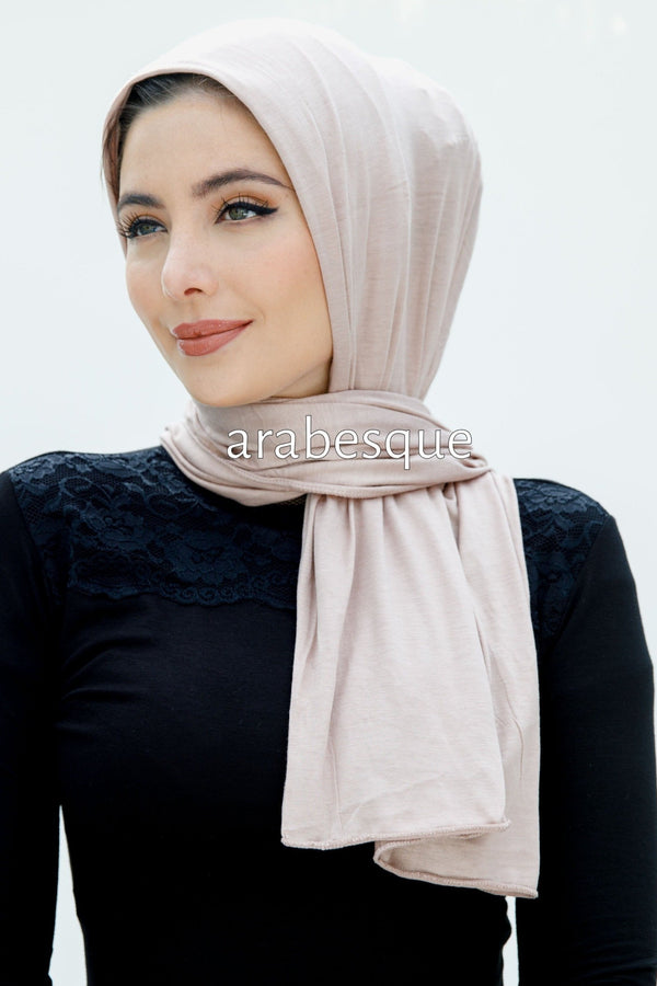 Jersey Cotton Blend Hijab in Light Peach