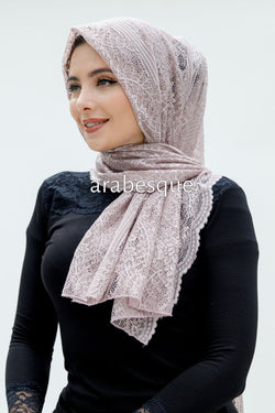 Flower Jersey Lace Hijab in Mauve