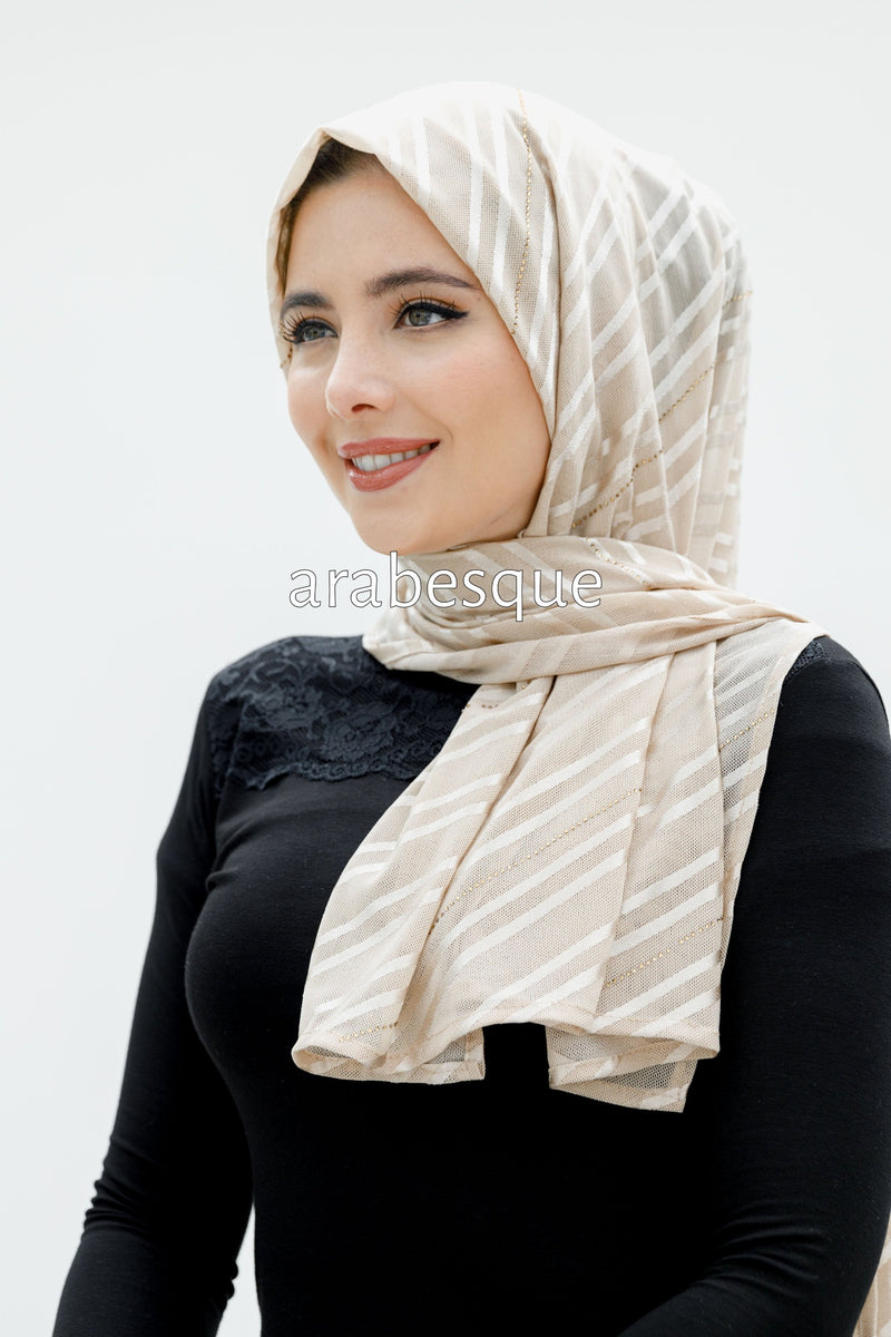 Sheer Mesh Hijab with Diamante in Light Beige