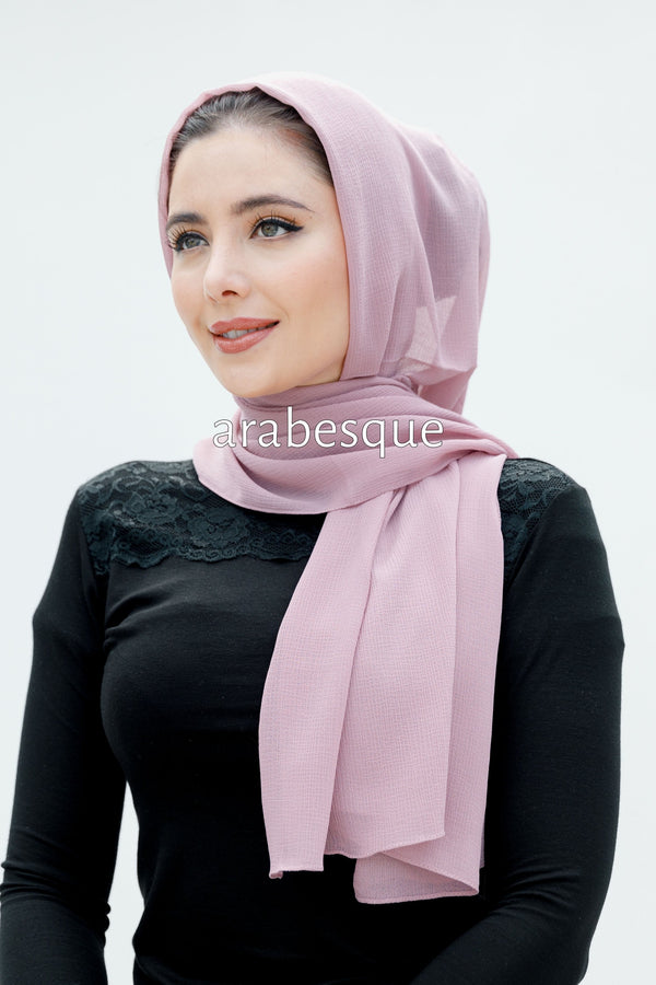 Luxury Chiffon Textured Long hijab in Light Pink