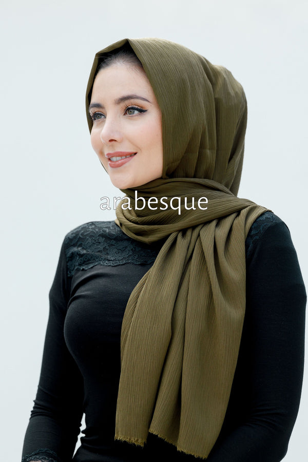 Soft Creased Long Hijab in Army Green