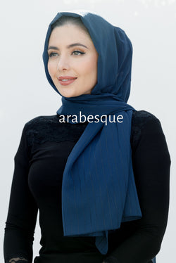 Layali Crepon Hijab in Navy