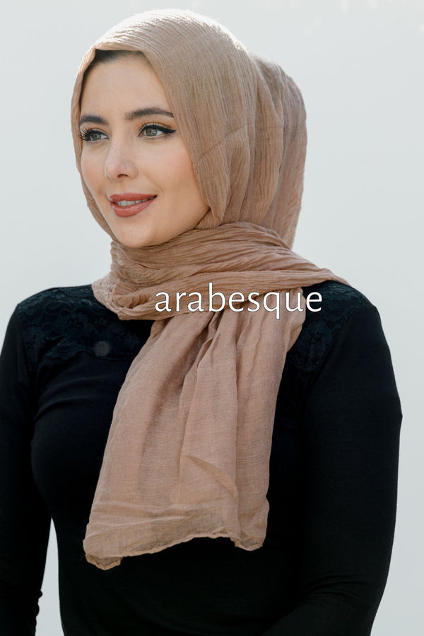 Viscose Fine Pleated Hijab in Blush
