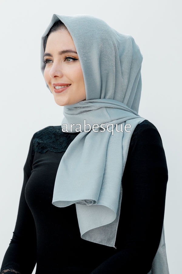 Shimmer Glow Long Hijab in Grey