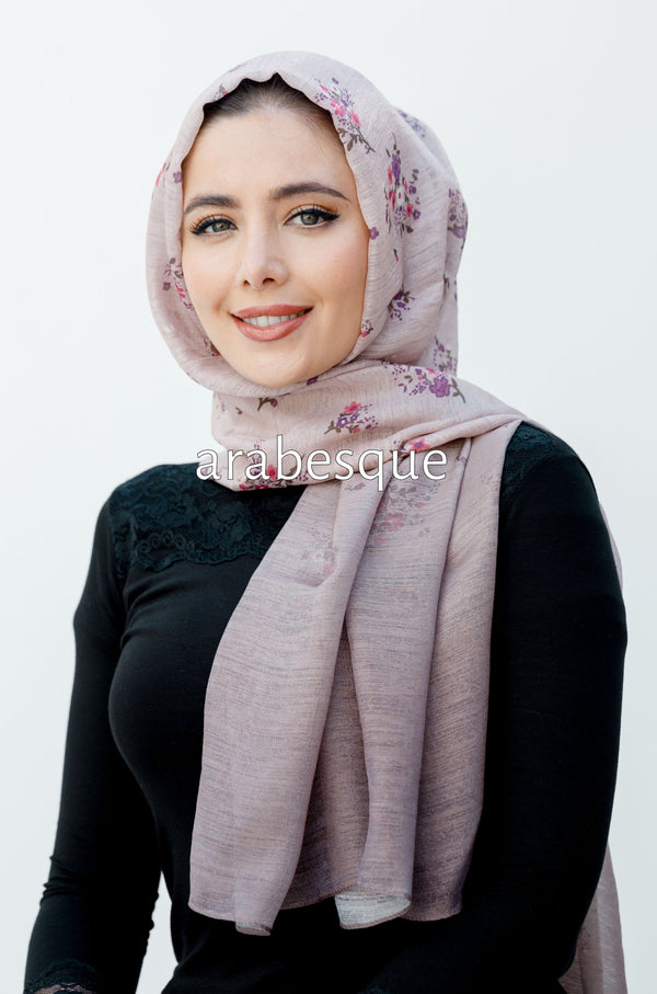 Ombre Glistened Flower Hijab