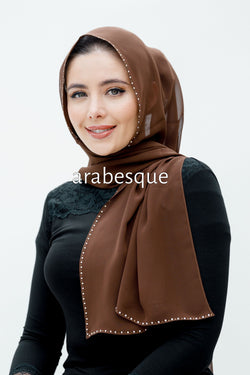 Chiffon Diamante Hijab in Brown