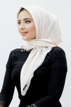 Smooth Crushed Polyester Square Hijab in Ivory