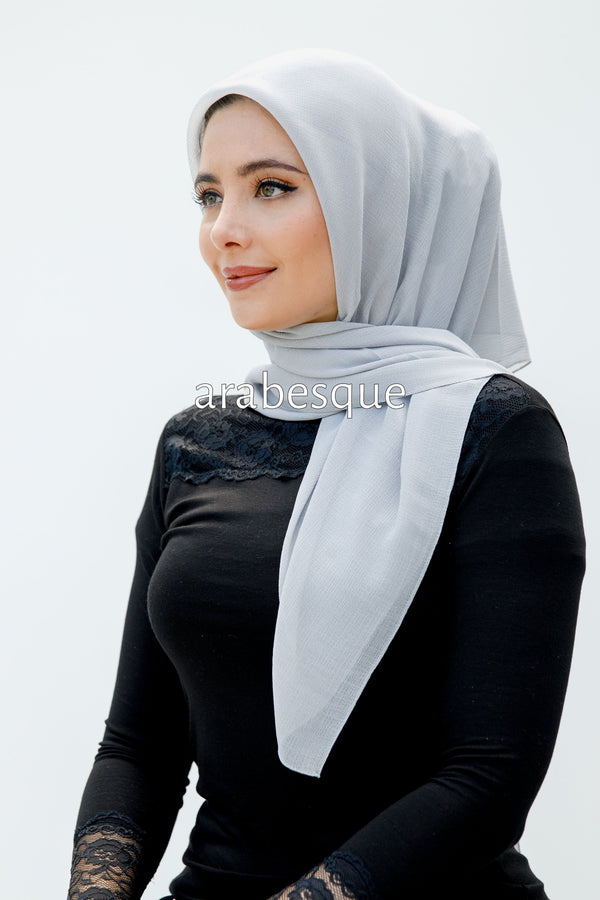 Luxury Chiffon Textured Square Hijab in Grey