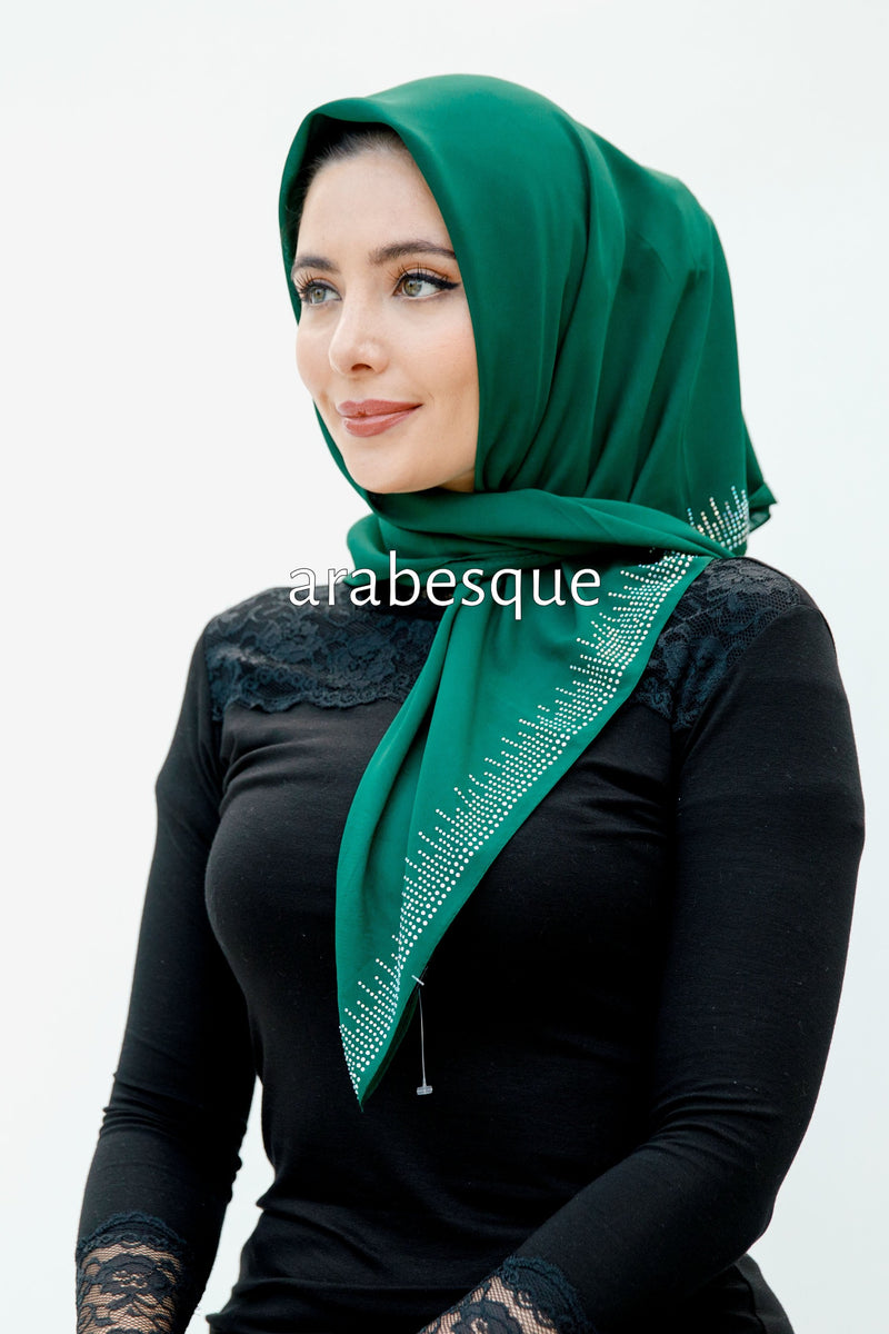 Alida Diamante Square Hijab in Green