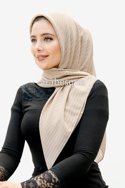 Glitter Stripe Square Hijab in Beige