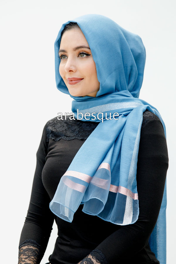 Shimmer Organza Edge Hijab in Light Blue