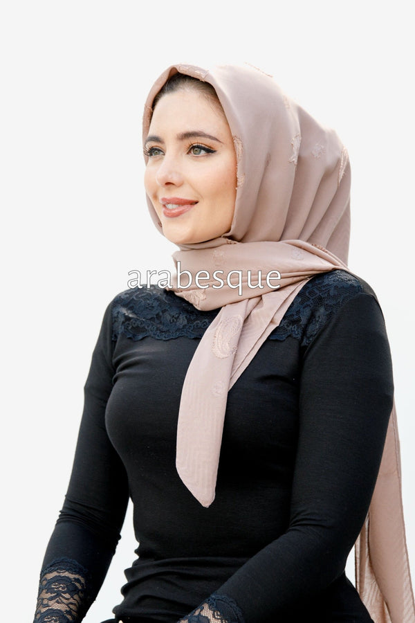 Sera Square Embroidered Hijab in Pink