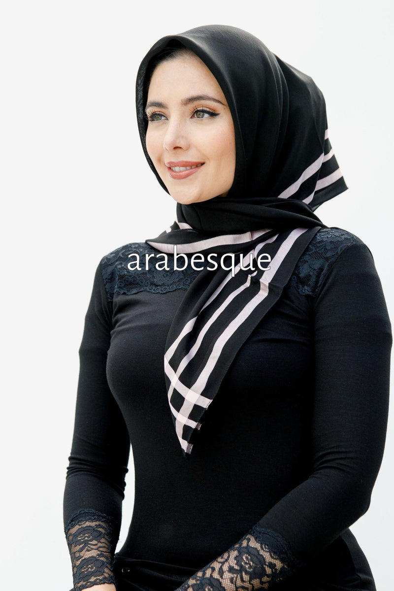Turkish Border Square Hijab in Grey