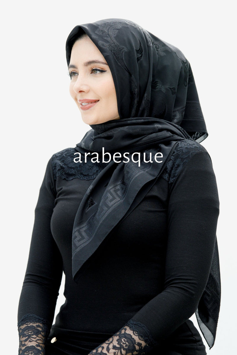 Sera Black Motif border Hijab in Black