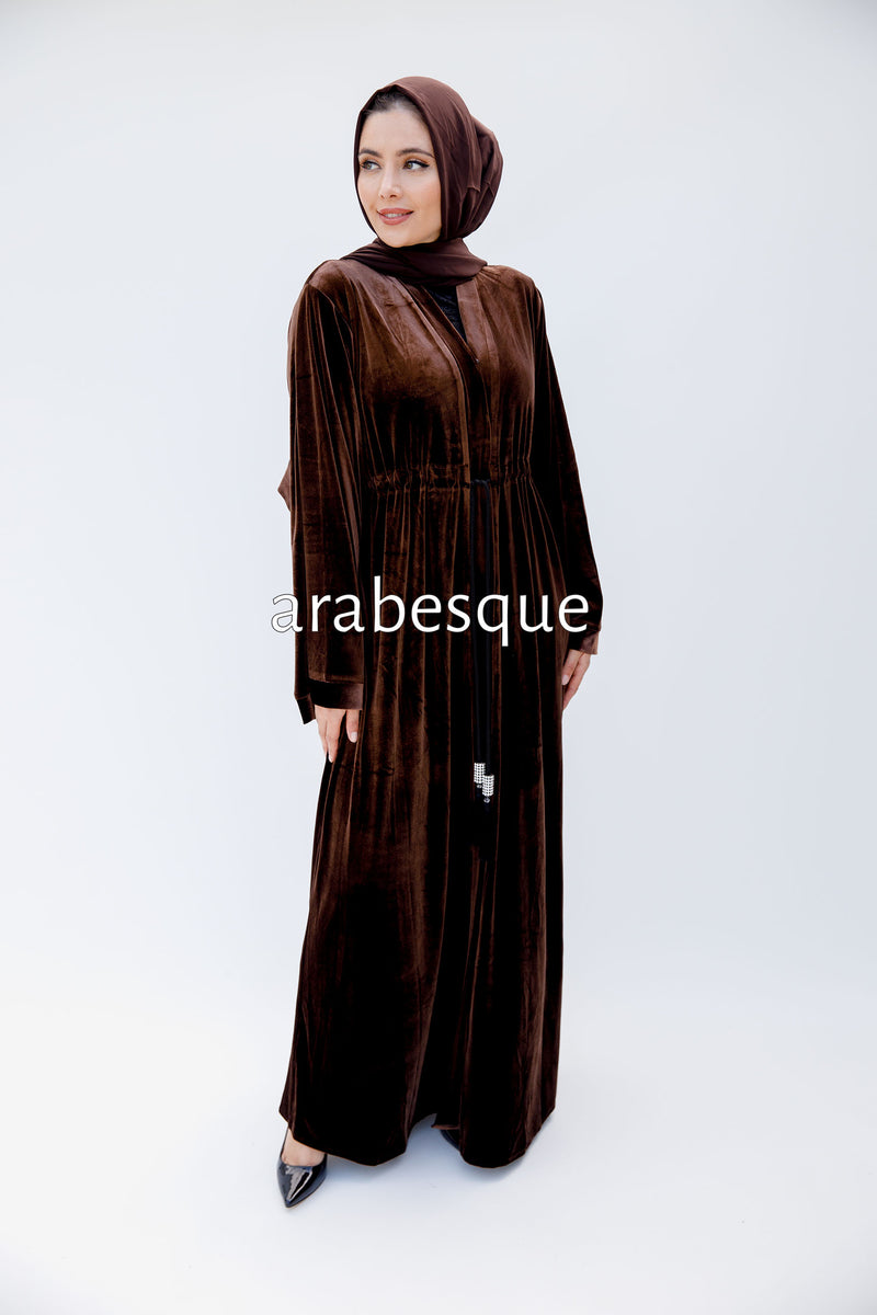 Brown Plain Velvet Abaya
