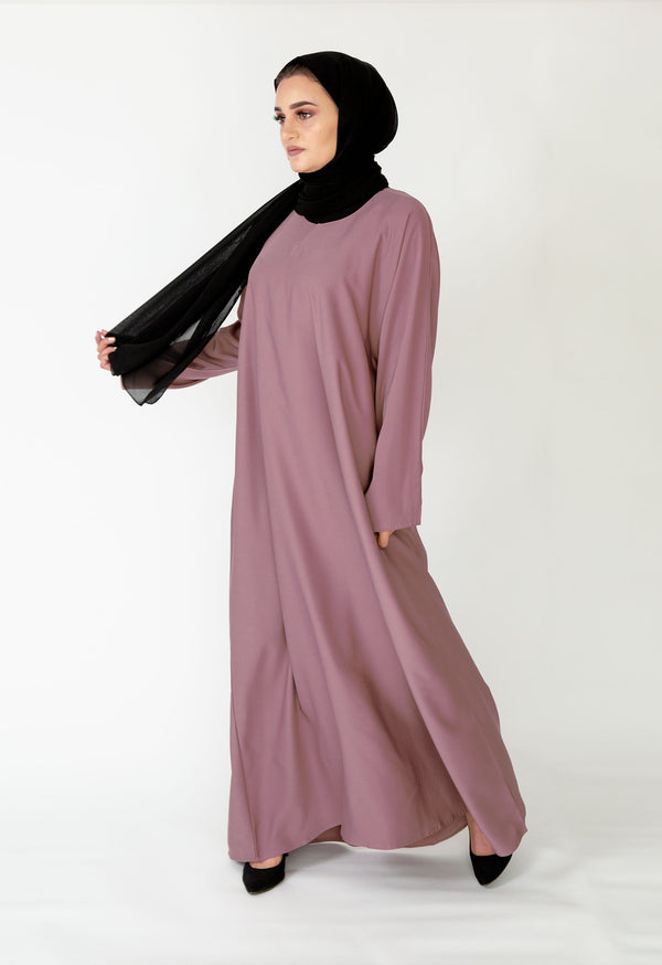 Dark Lilac Plain Closed Abaya