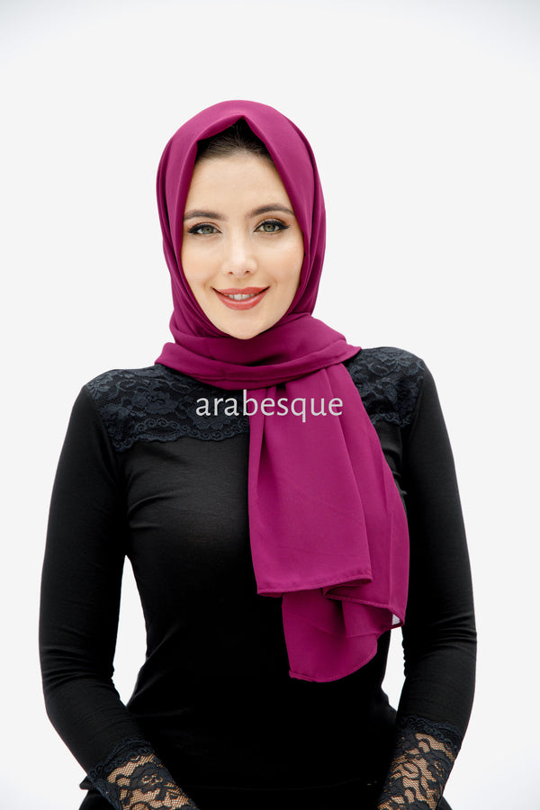 Plain Georgette Hijab in Magenta