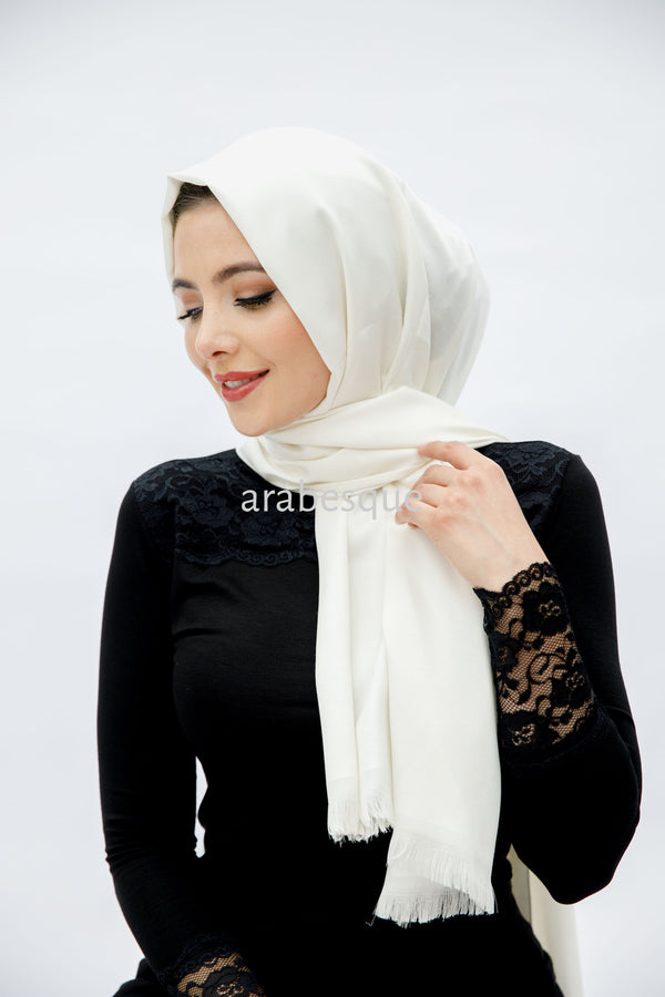 Plain Silky Hijab in Ivory