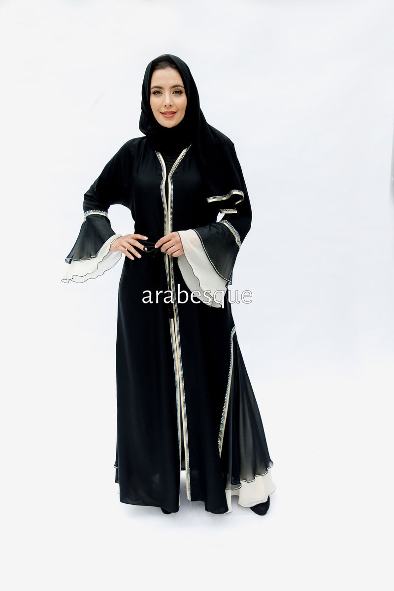 Haniyah Cream Chiffon Layer Abaya