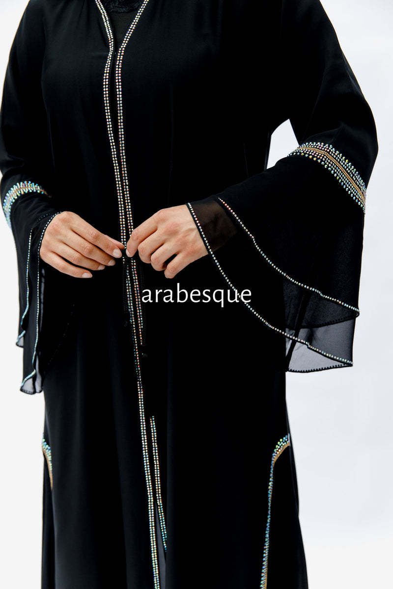 Haniyah black Chiffon Layer Abaya