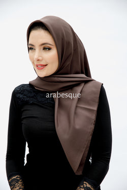 Plain Chiffon Square Hijab in Brown