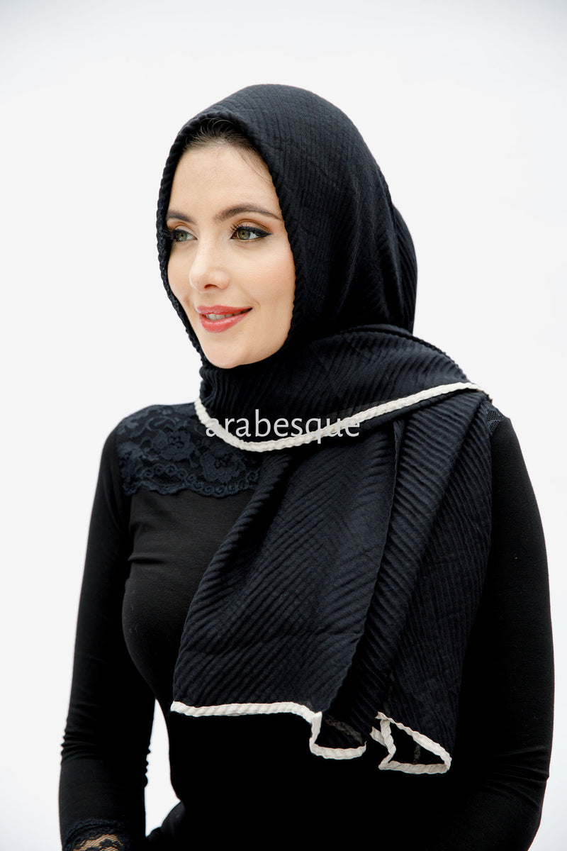 Viscose Border Pleated Hijab