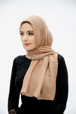 Viscose Pleated Hijab in Peach
