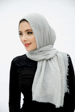 Viscose Crinkle Hijab in Light Grey