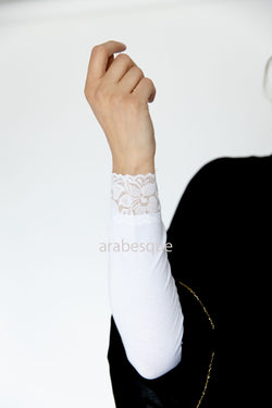 Lace trimmed Sleeves 16.5""