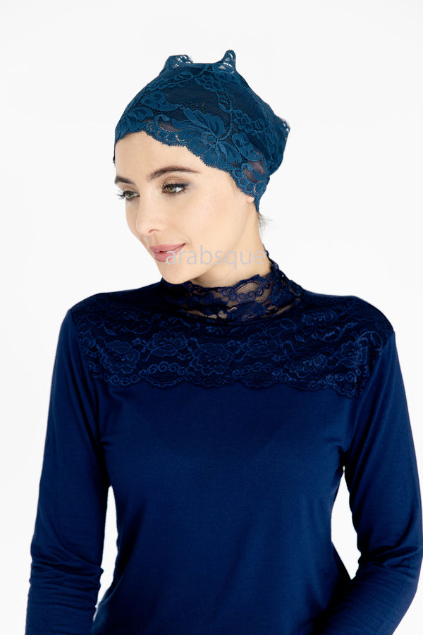 Lace Ful Tube in Navy