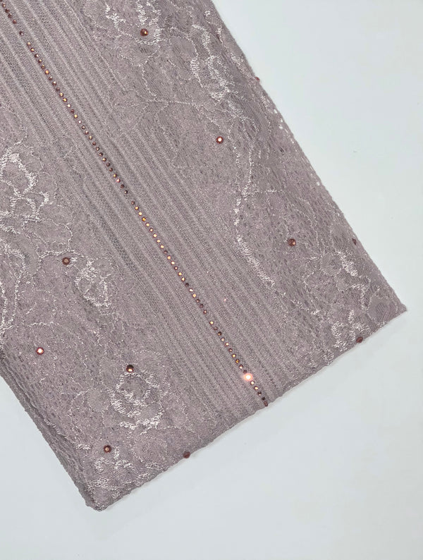 Mauve Flower Lace Hijab with Diamante Hijab Online