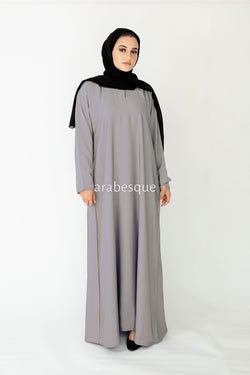 Grey Plain Closed Abaya UK