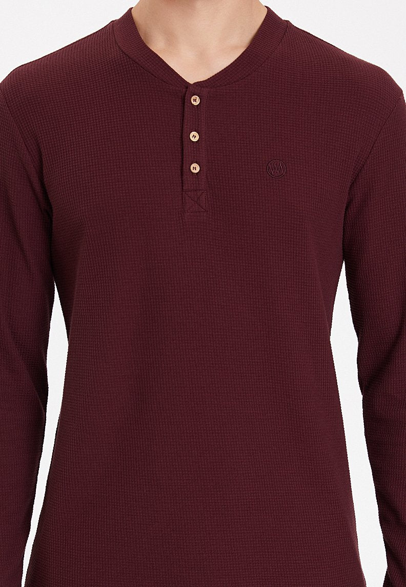 ESSENTIALS LONG SLEEVE HENLEY in Port Royale
