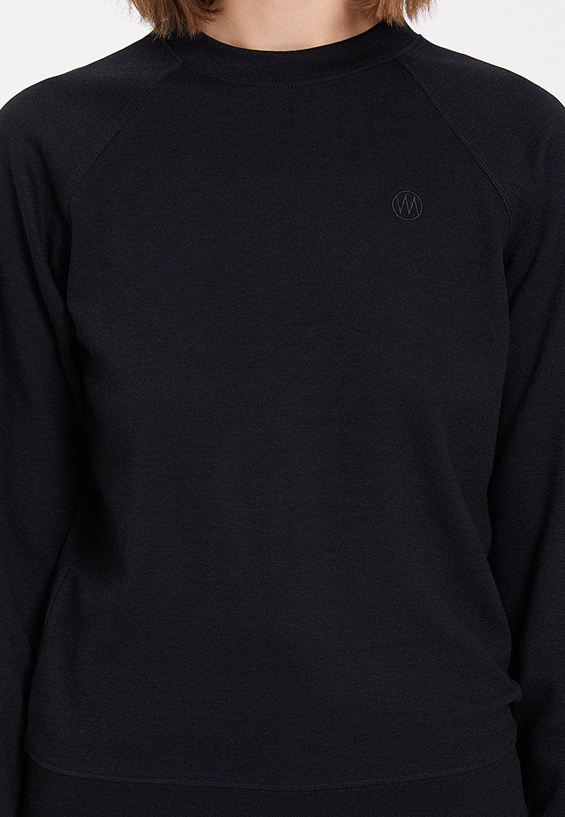 ESSENTIALS REGLAN SLEEVE SWEAT in Black