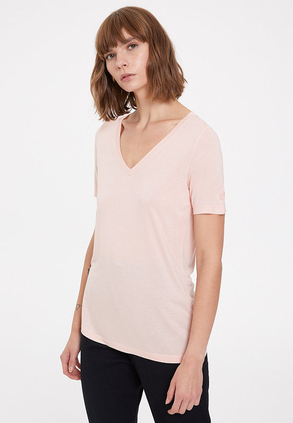 ESSENTIALS DEEP V-NECK TEE in Peachy Keen