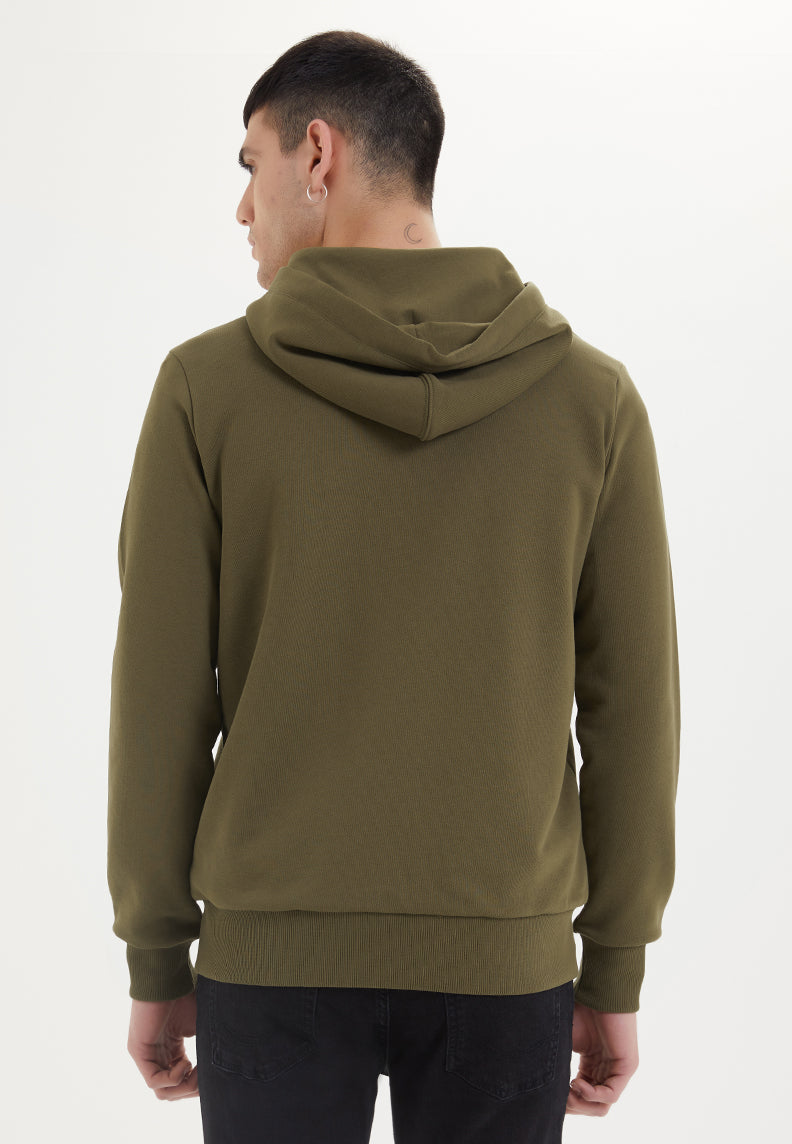 ESSENTIALS ZIP HOODIE in Dark Olive