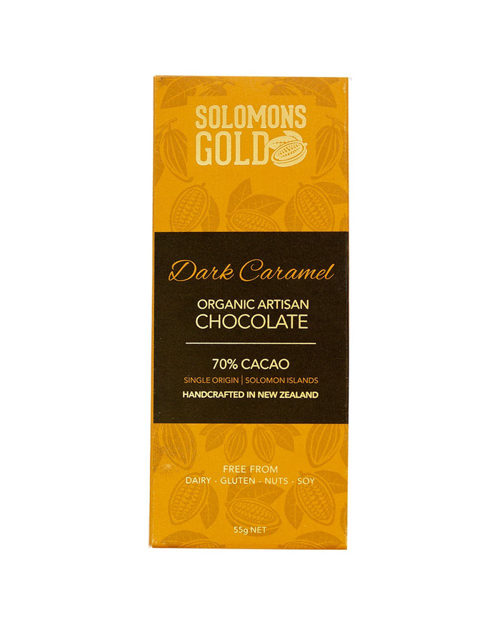 Image of Solomons Gold Dark Caramel Chocolate. 70% Organic Artisan Dark Chocolate. Handcrafted in New Zealand. Free from Dairy, Gluten, Nuts and Soy. Bean to Bar. Single-Origin, Made in in Solomon Islands.