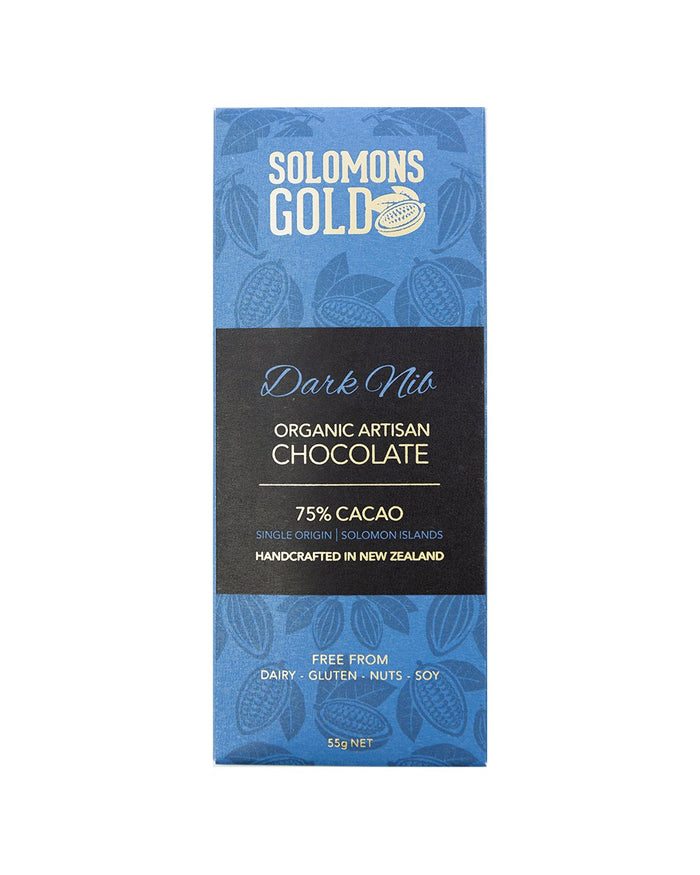 Image of Solomons Gold Dark Nib Chocolate. 75% Organic Artisan Dark Chocolate. Handcrafted in New Zealand. Free from Dairy, Gluten, Nuts and Soy. Bean to Bar. Single-Origin, Made in in Solomon Islands.