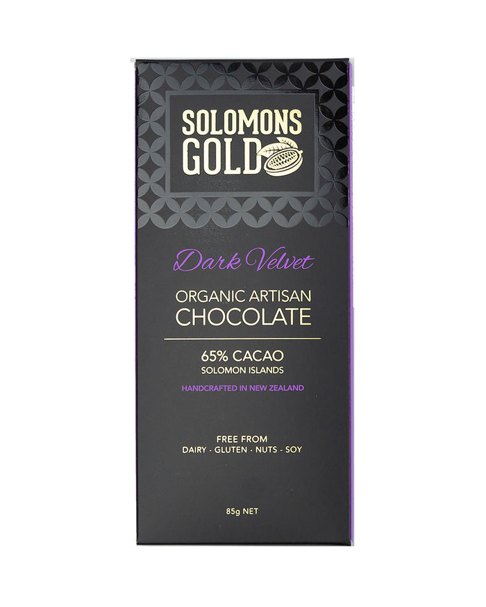 Image of Solomons Gold Dark Velvet Chocolate. 65% Organic Artisan Dark Chocolate. Handcrafted in New Zealand. Free from Dairy, Gluten, Nuts and Soy. Bean to Bar. Single-Origin, Made in in Solomon Islands.