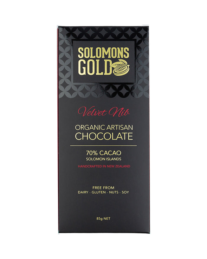Image of Solomons Gold Dark Velvet Chocolate. 70% Organic Artisan Dark Chocolate. Handcrafted in New Zealand. Free from Dairy, Gluten, Nuts and Soy. Single-Origin Solomon Islands.