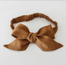 Load image into Gallery viewer, Mustard Linen Bow Pre-Tied Headband Wrap