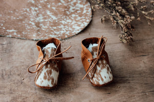 Baby Shoes - CHL009 - Mustard and Cowhide with lace