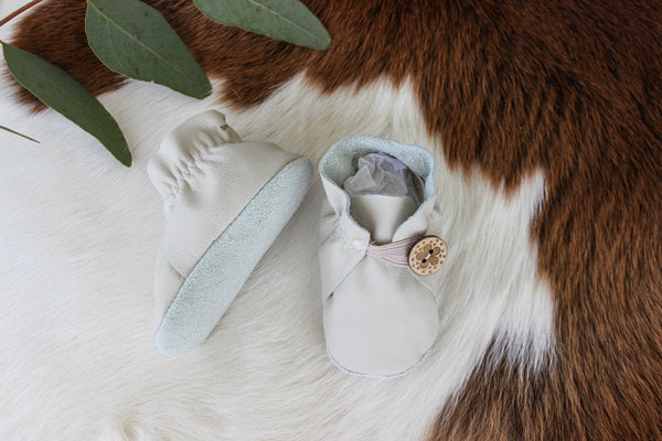 Baby Shoes Cream with Button  - CB009
