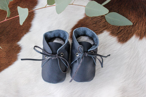 Baby Shoes Navy Leather with Lace - CL003