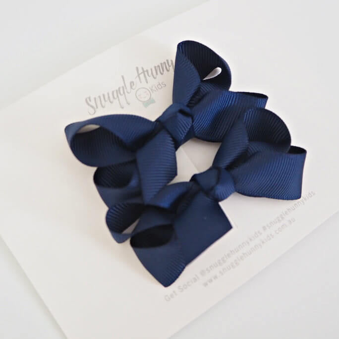 Navy Clip Bow - Small Piggy Tail Pair