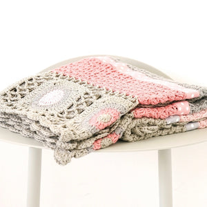 Hand Crochet Blanket - Dusty Pink & Grey