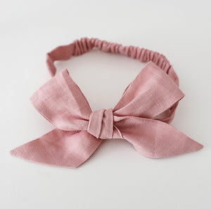 Dusty Pink Linen Bow Pre-Tied Headband Wrap