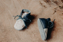 Load image into Gallery viewer, Baby Shoes - Navy Sides with Brown/Tan & Cream Cowhide with Navy Laces - CL007