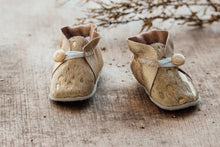 Load image into Gallery viewer, Baby Shoes - Gold Cowhide with Gold Leather Sides with Button - CHCBB10